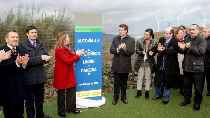 Inauguración en 2014 de la Autovía del Cantábrico (A-8) a su paso por el Alto do Fiouco, entre Mondoñedo e Abadín (Lugo)