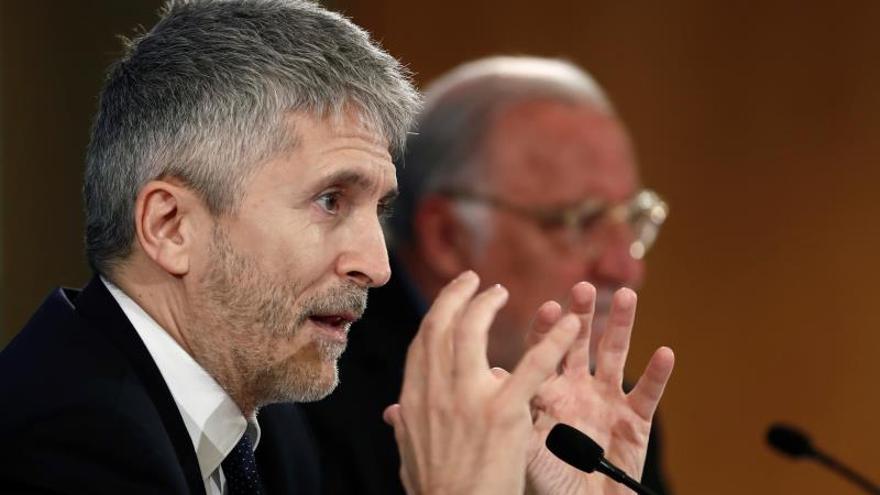 El ministro del Interior, Fernando Grande-Marlaska, durante su comparecencia.