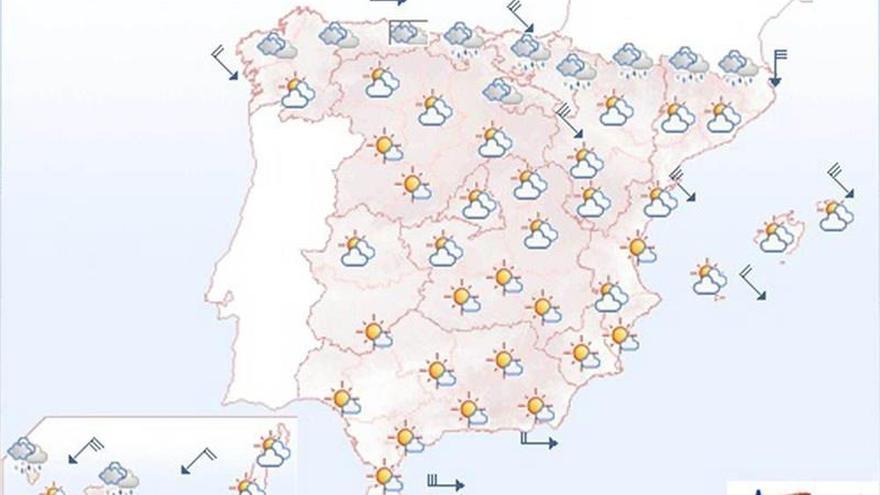 Mañana viento fuerte del norte en el nordeste, Cantábrico, Menorca y Canarias