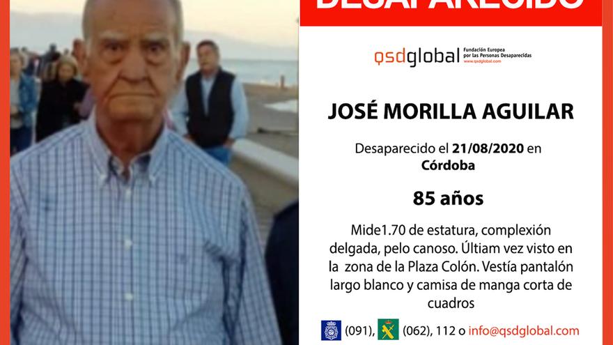Imagen distribuida para la búsqueda de José Morilla, de 85 años.