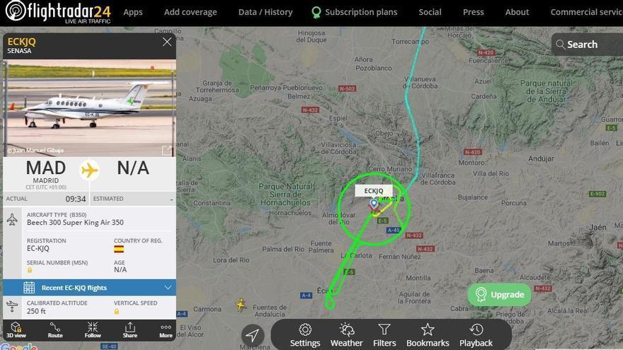 Captura de pantalla con la ruta iniciada por el avión 'laboratorio'