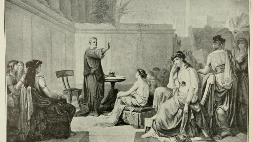 Grabado de Pitágoras y sus discípulos