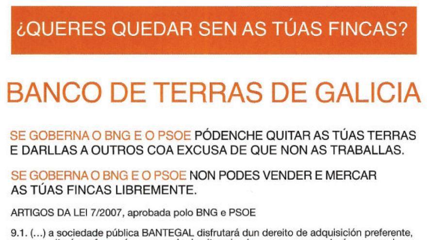 Panfleto distribuído en Ourense a tres días de las elecciones de 2009