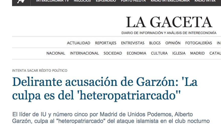 Captura del diario La Gaceta
