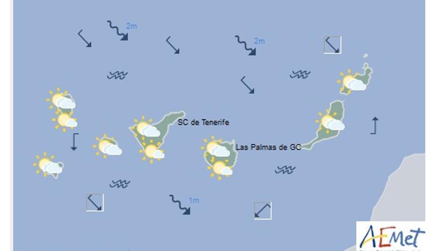 Mapa con la previsión meteorológica de este lunes, 27 de marzo