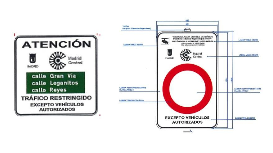 Dos ejemplos de las señales que marcarán el acceso a Madrid Central | AYUNTAMIENTO DE MADRID