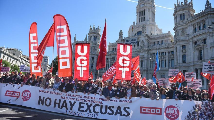 Cabecera de la manifestación del Primero de Mayo en Madrid