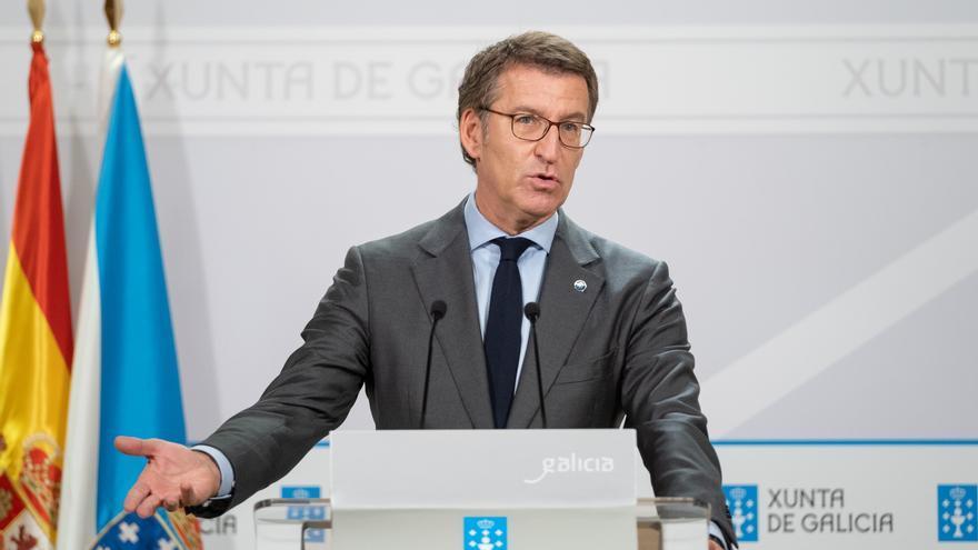 Feijóo en la rueda de prensa posterior al Consello de la Xunta.