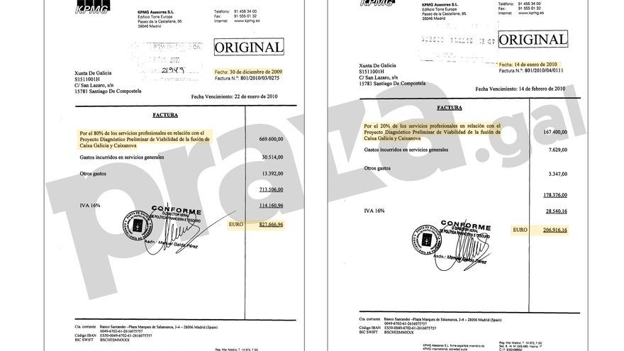 Facturas de KPMG remitidas a la Xunta en diciembre de 2009 y enero de 2010