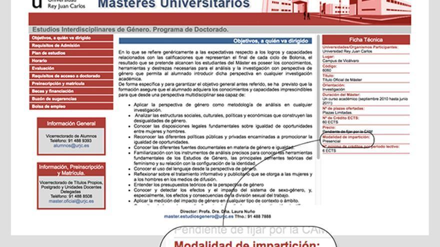 Copia de caché guardada por la web Archive.org de la página de la URJC en 2010