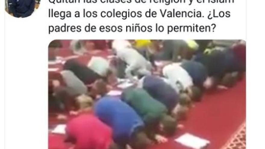 Un subinspector de Policía Nacional difunde un bulo islamófobo sobre la educación en Valencia