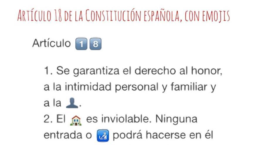 El artículo 18 de la Constitución (honor, intimidad y propia imagen, entre otros) con 'emojis'