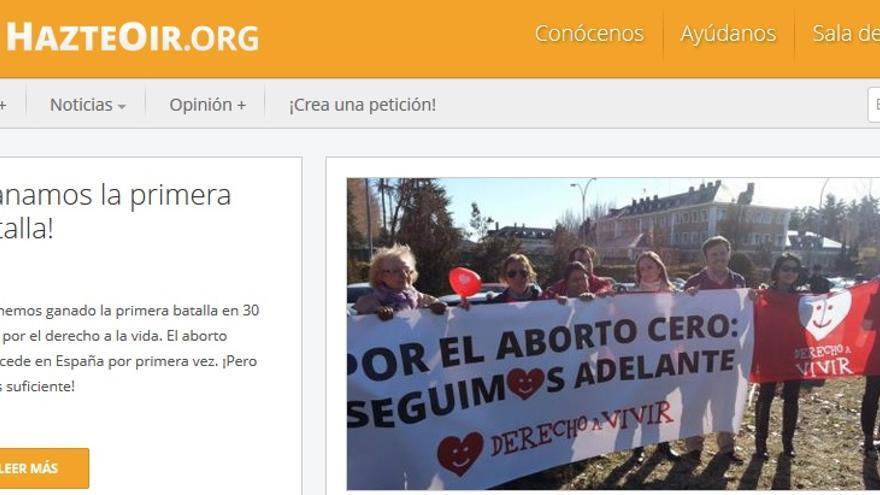 Portada de HazteOir.org tras la aprobación de la reforma de la ley del aborto