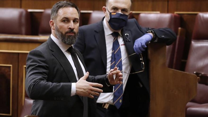 El dirigente de Vox, Santiago Abascal, en el Congreso, sin mascarilla