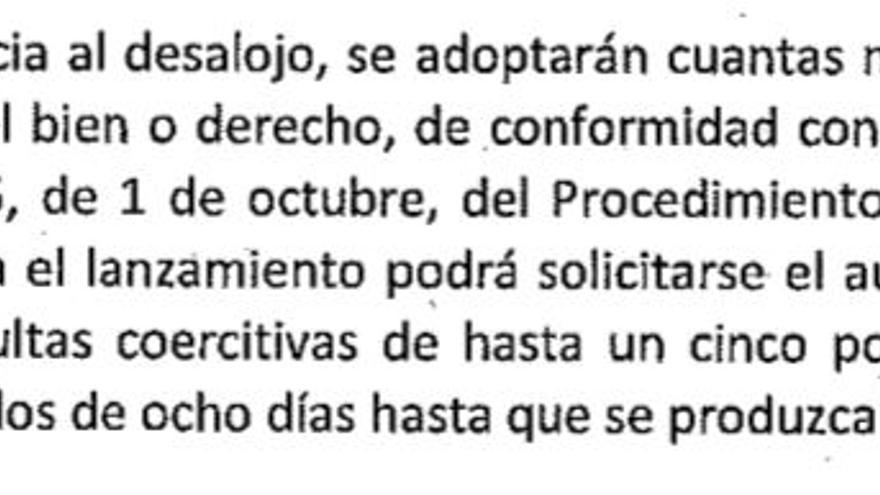 Extracto de la orden de desalojo de La Ingobernable.