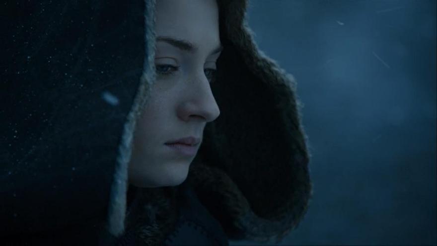 Sansa Stark justo después de ordenar la muerte de Meñique
