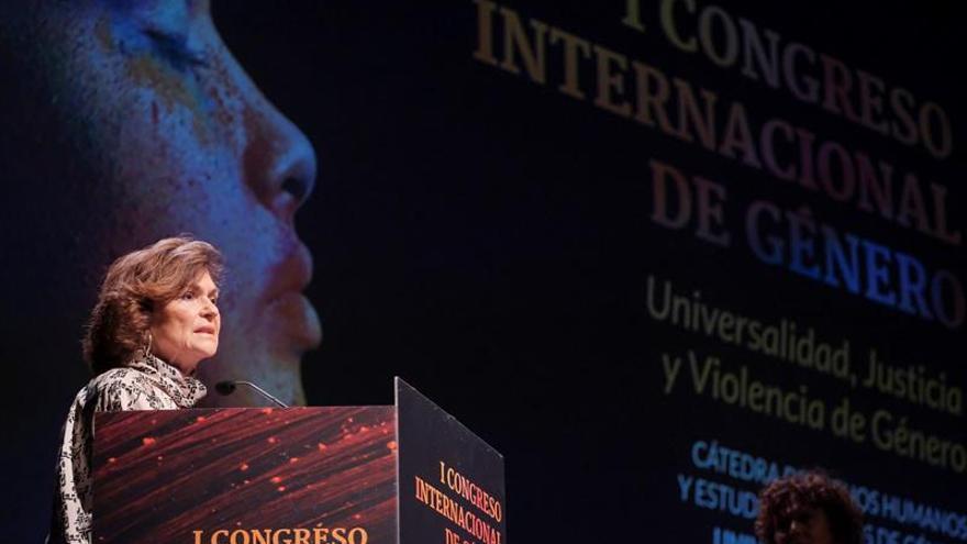La vicepresidenta del Gobierno en funciones, Carmen Calvo, durante la inauguración del I Congreso Internacional 'Universidad, Justicia y Violencia de Género'.