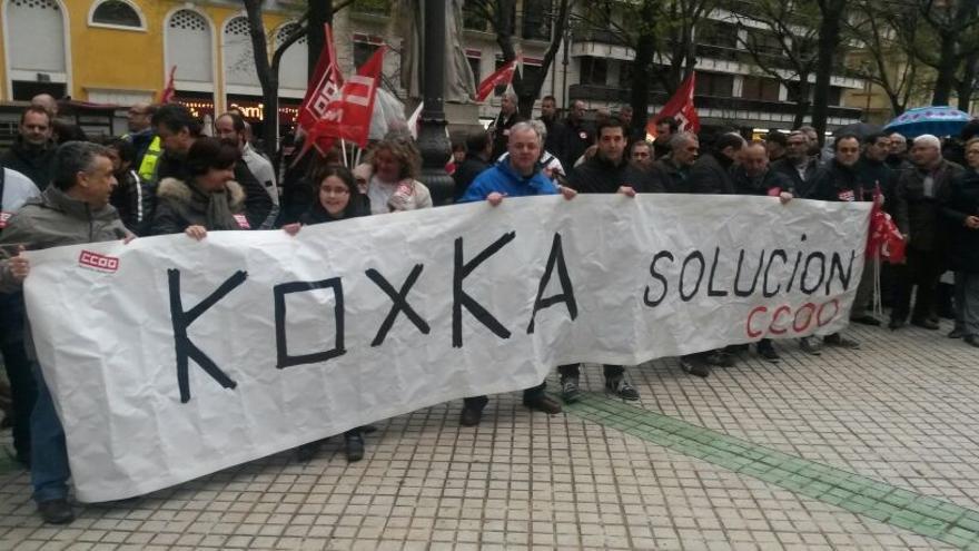 Una protesta anterior de los trabajadores de Koxka.