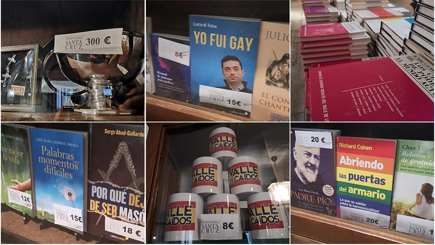 """En la recepción de la hospedería puedes adquirir libros como """"Yo fui gay"""" o """"Abriendo las puertas del armario"""", tazas, pulseras y cinturones con la bandera de España o un cáliz por 300€"""