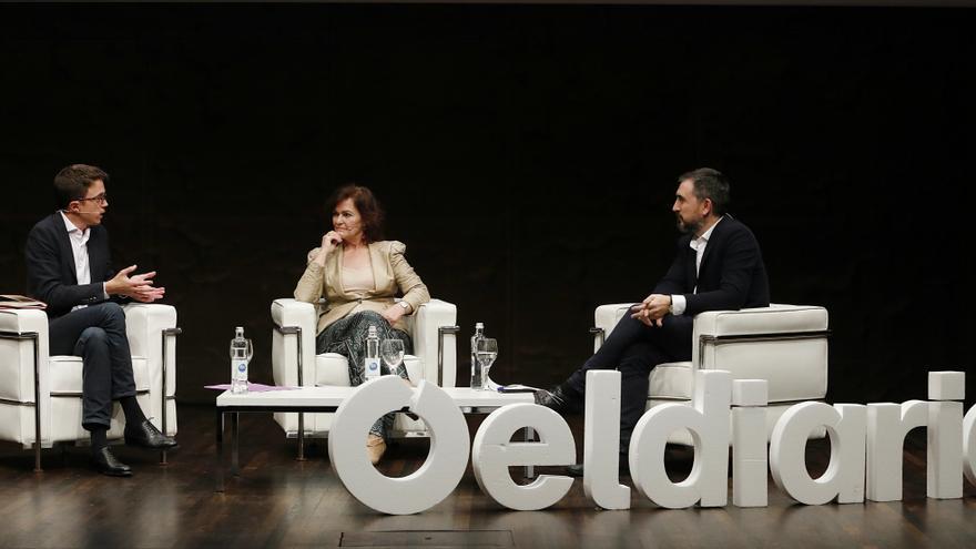 Calvo y Errejón, durante el debate celebrado en CaixaForum Madrid