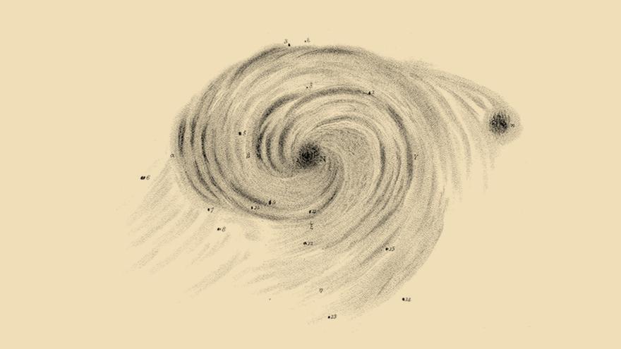 Dibujo de la galaxia Remolino (o Messier 51) realizado por William Parsons para la' Philosophical Transactions of the Royal Society of London' (1850)