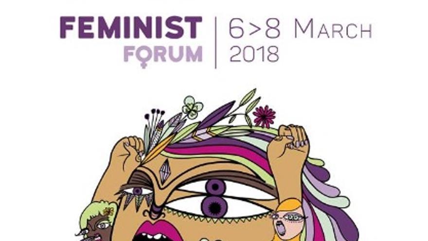 """Imagen del Foro Feminista """"Feminism without Borders"""", una ilustración de 'P.nitas'"""