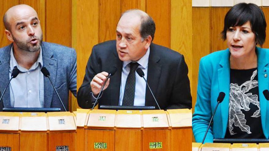 Luís Villares, Xoaquín Fernández Leiceaga y Ana Pontón, durante el pleno