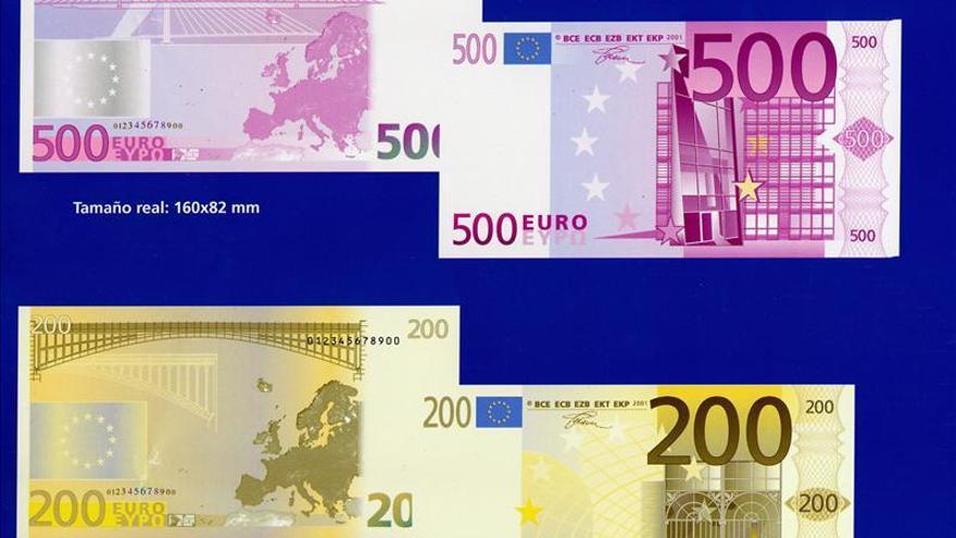 La cifra de billetes de 500 euros cae al nivel más bajo desde febrero de 2005