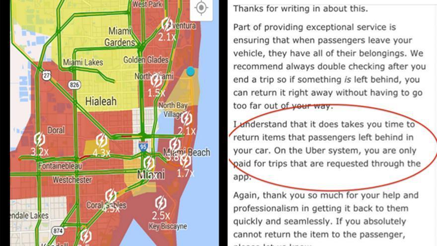 """A la izquierda, la aplicación muestra una subida de precios en una zona determinada. A la derecha, Uber agradece a un conductor que devolviera sus enseres olvidados a un pasajero, pero le recuerda que en el sistema de Uber, """"solo se pagan los viajes solicitados a través de la 'app'"""""""