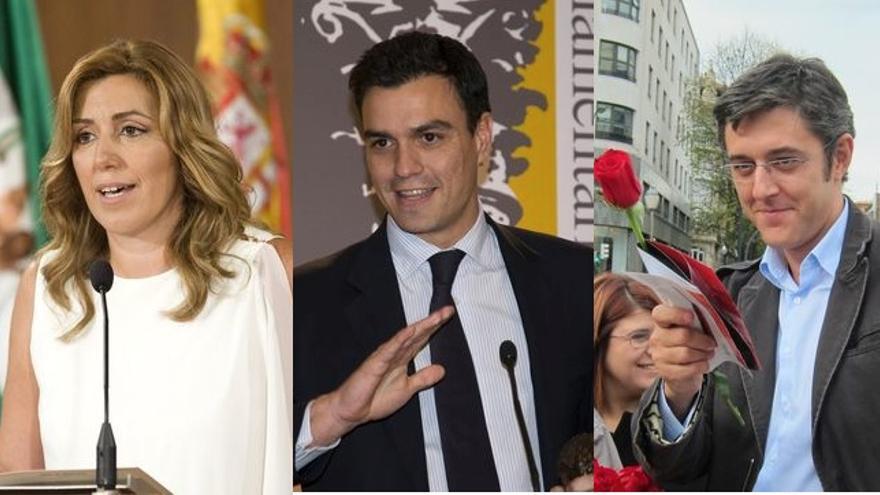 Susana Díaz, Pedro Sánchez y Eduardo Madina