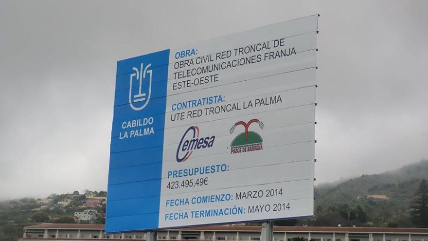 En la imagen, cartel oficial de la obra situado en la zona de Buenavista, en Breña Alta, a la altura del Hospital General.