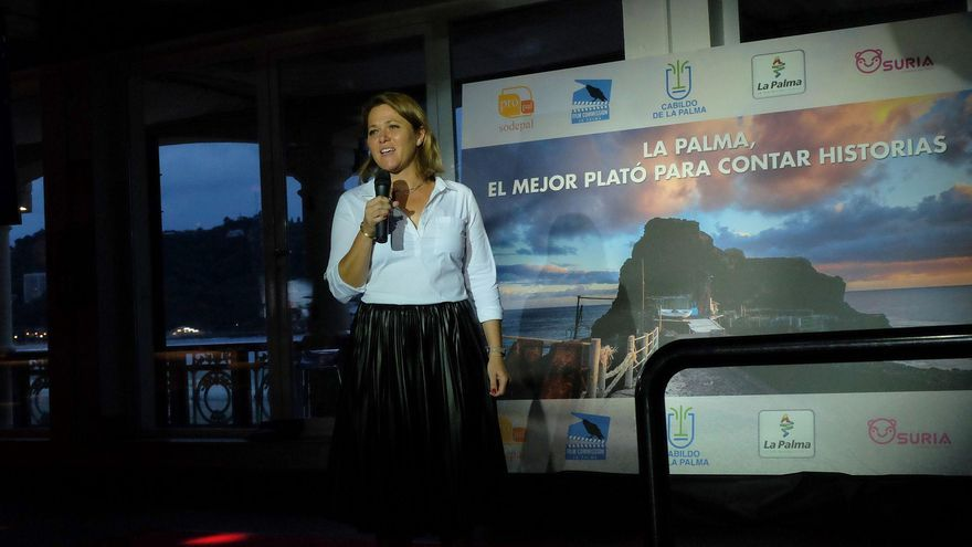 Alicia Vanoostende, en el acto organizado por La Palma Film Commissio  en el Festival de Cine de San Sebastián para dar a conocer la Isla como plató.