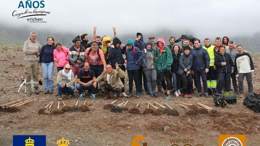 40 personas celebran el Día del Voluntariado con Yrichen plantando 120 árboles en Guayedra.