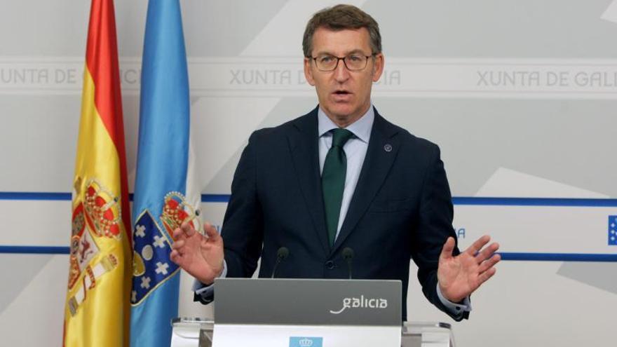El presidente de la Xunta, Alberto Núñez Feijóo, este jueves al término de la reunión de su gobierno