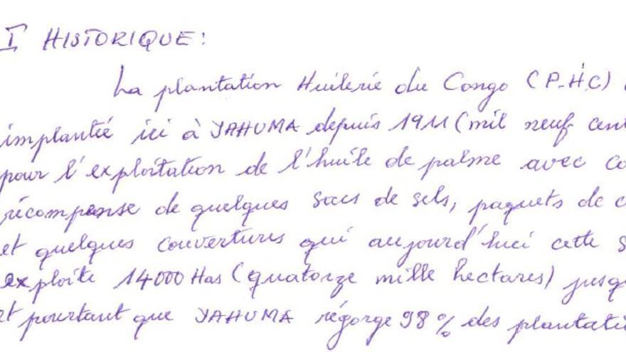 Carta en la que 61 personas denuncian el acaparamiento ilícito de tierras de la empresa adquirida por Feronia. / Grain.