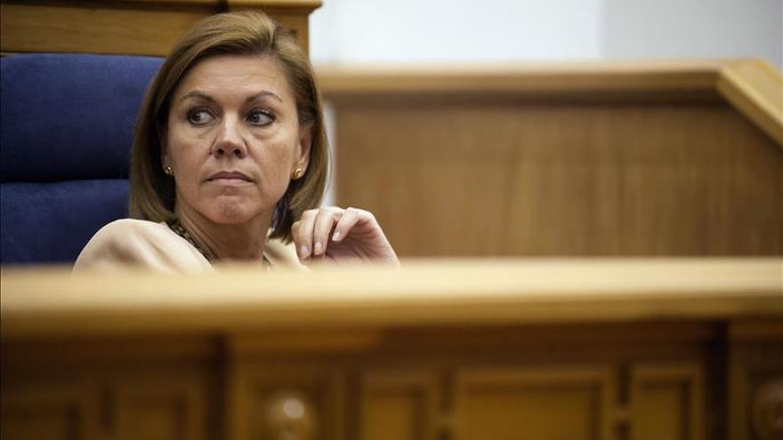 María Dolores de Cospedal, durante el pleno de las Cortes de Castilla-La Mancha. Foto: EFE.