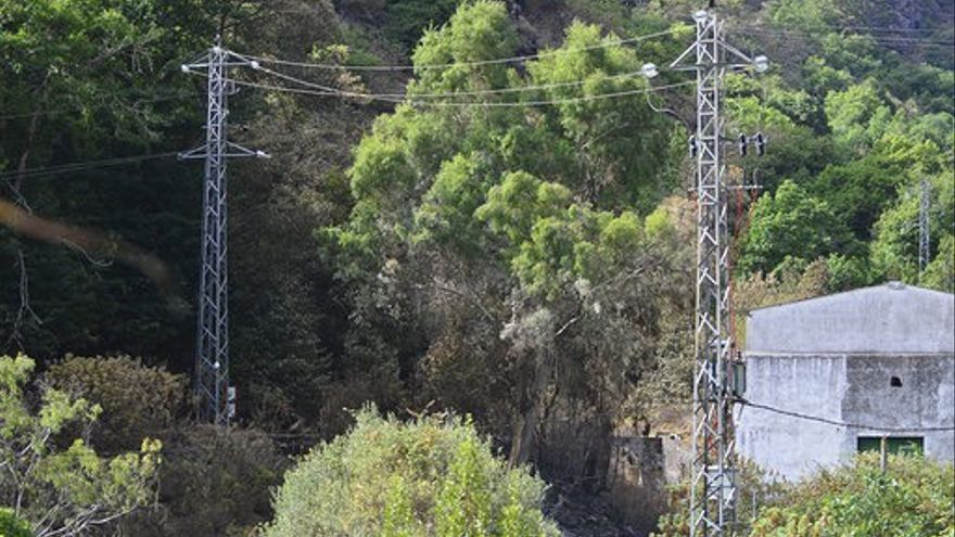 Tendidos de alta tensión en el interior de los terrenos de la Heredad de Aguas de Arucas, en Valsendero.