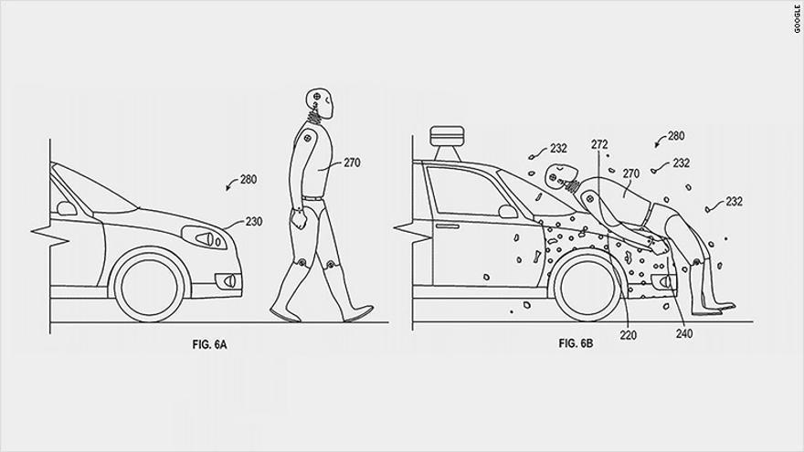 Google ha patentado un capó adhesivo para atrapar al peatón en caso de atropello.