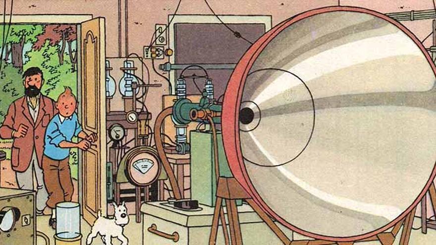 Una máquina de ultrasonidos capaz de destruir edificios permitirá a Hergé hablar sobre la guerra nuclear y el espionaje científico (Imagen: © Moulinsart 2017 y Editorial Juventud)