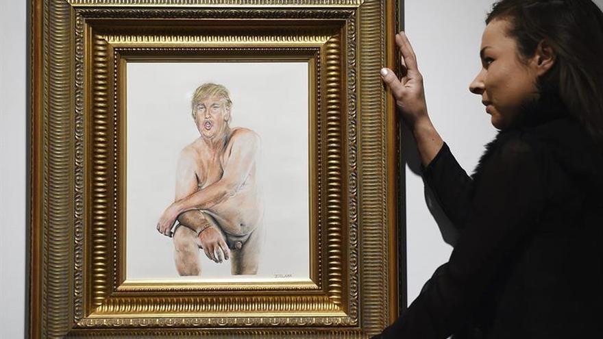Exhiben en Londres un polémico cuadro de Donald Trump desnudo