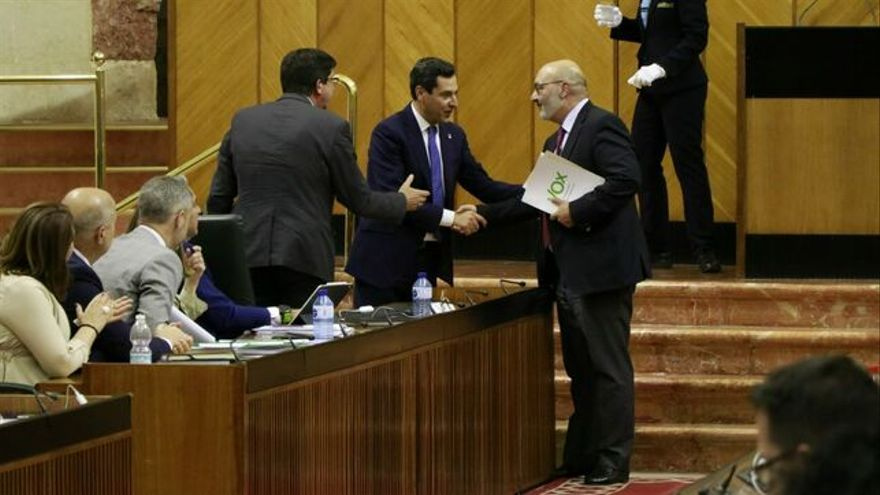 Juan Manuel Moreno, Juan Marín y Alejandro Hernández para artículo sobre presupuestos 2020 Andalucía María Iglesias
