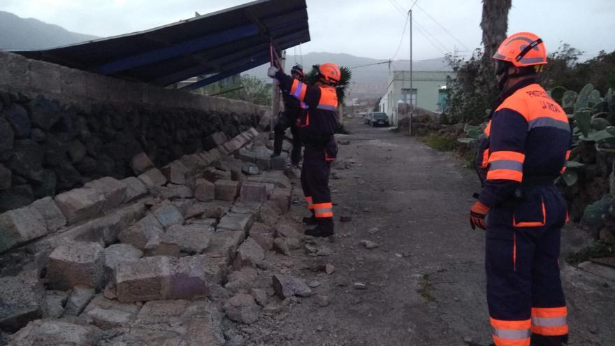 Destrozos provocados por el viento en La Orotava