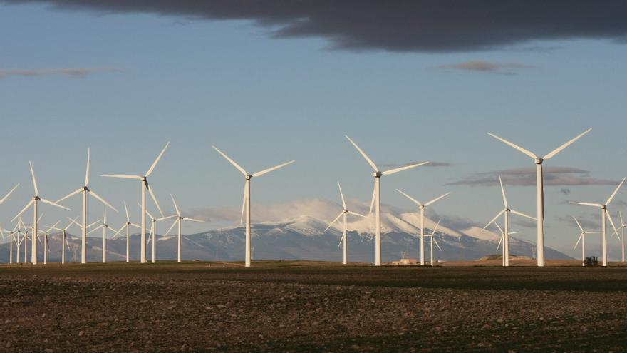 Uno de los parques eólicos de Samca en Aragón.