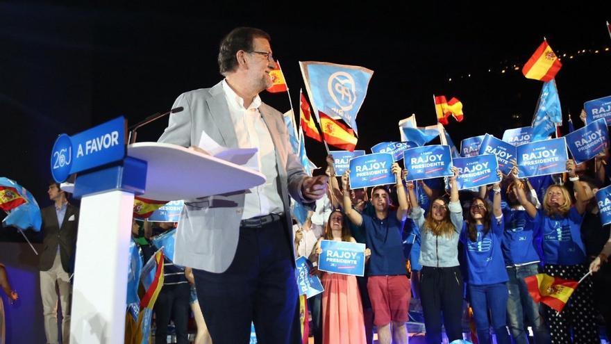 Mariano Rajoy, durante el mitin de cierre de campaña.