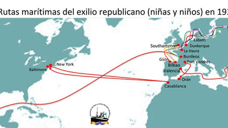 Rutas marítimas del exilio republicano (niños y niñas) en 1937. | BARCOS DEL EXILIO REPUBLICANO ESPAÑOL