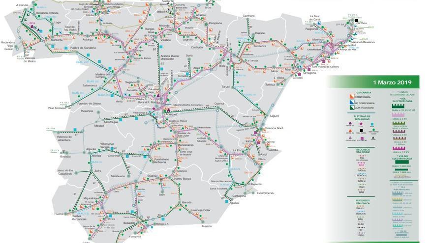 Mapa de Adif que refleja la estructura de la vías ferroviarias