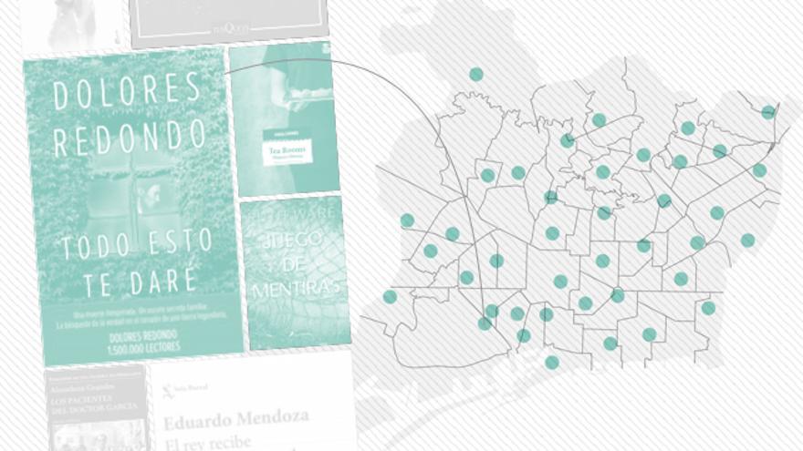 Mapa de las 40 bibliotecas repartidas por Barcelona.