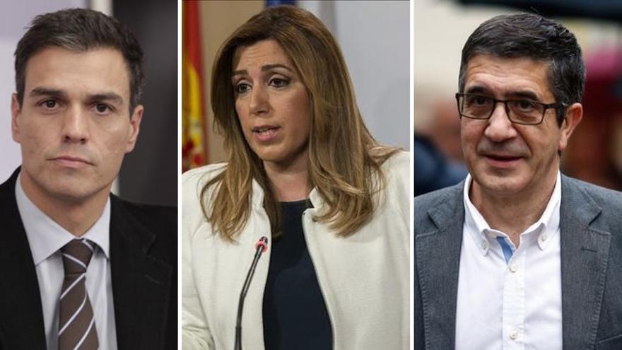 Los candidatos a la secretaría general del PSOE: Pedro Sánchez, Susana Díaz y Patxi López.