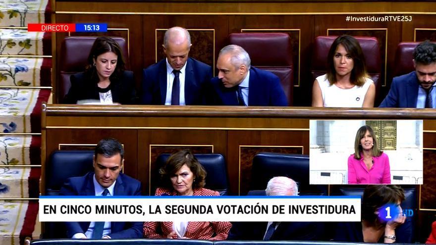 Imagen de la cobertura en directo de La 1 de la sesión de investidura