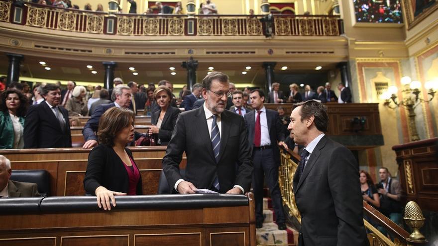Santamaría completa su primera ronda con todos los portavoces, con el PSOE reacio a una 'foto' con el Ejecutivo